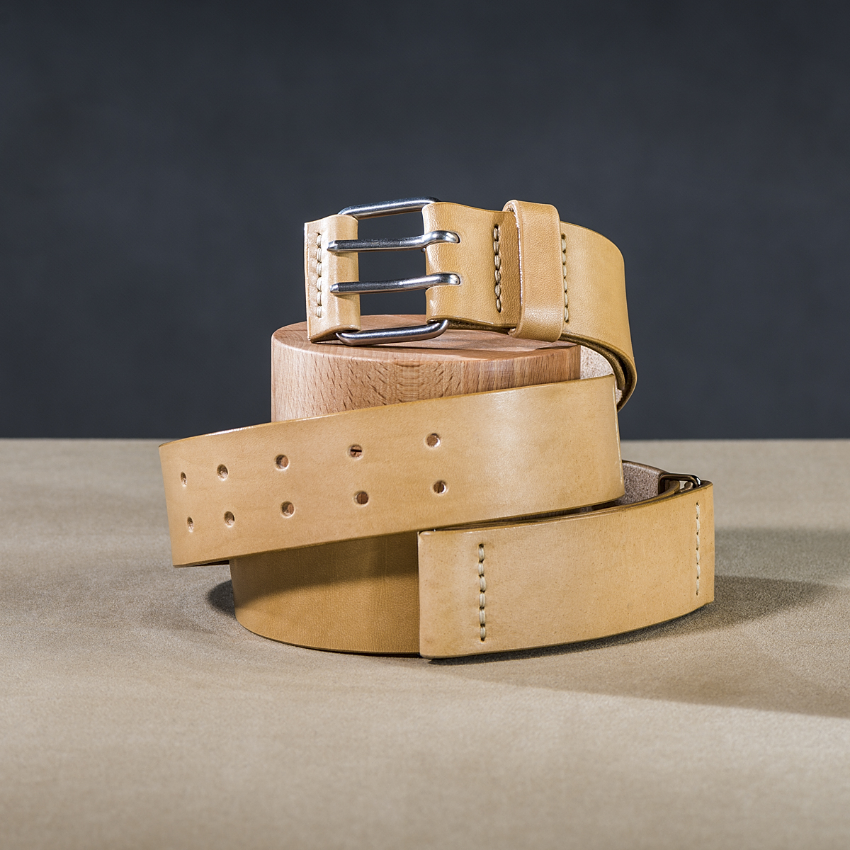 Leather belt for guys Beige 1.