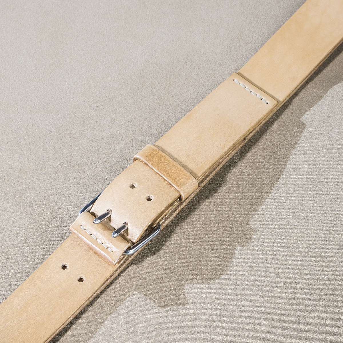 Leather belt for guys Beige 2.