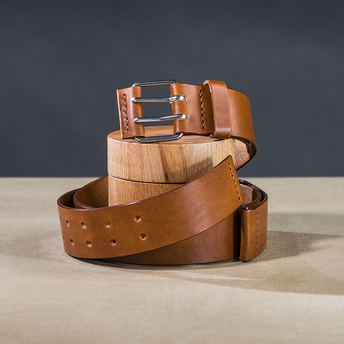 Leather belt for guys Caramel 1.